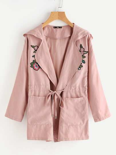 Embroidered Flower Applique Drawstring Waist Hooded Coat