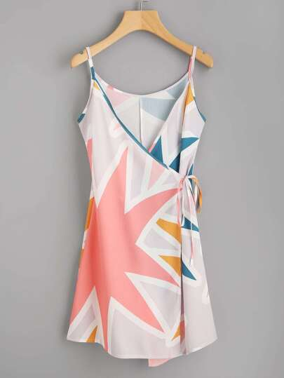 Abstract Geo Print Tie Detail Cami Dress