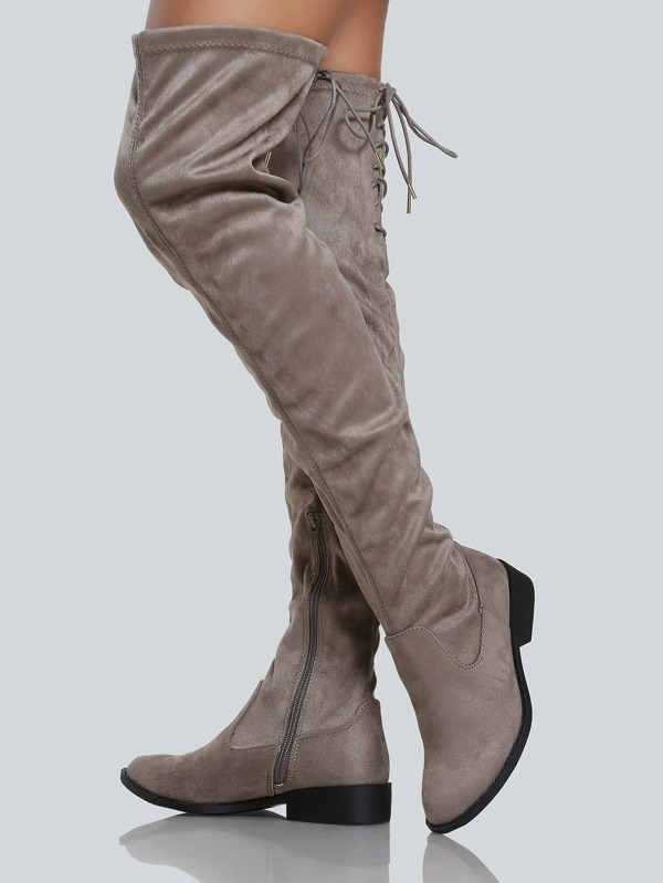 7bb13fba0d1 Faux Suede Back Tie Up Thigh High Boot TAUPE -SHEIN(SHEINSIDE)