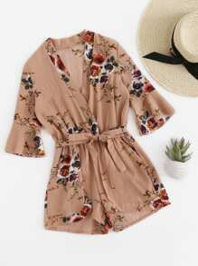 Fluted Sleeve Floral Print Surplice Romper With Belt