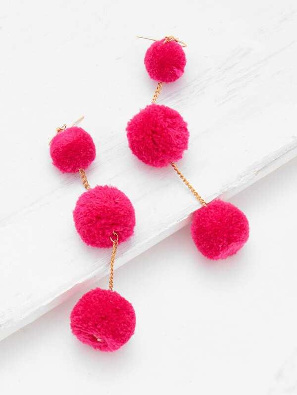 3790b9c56ec75a Pom Pom Drop Earrings   SHEIN