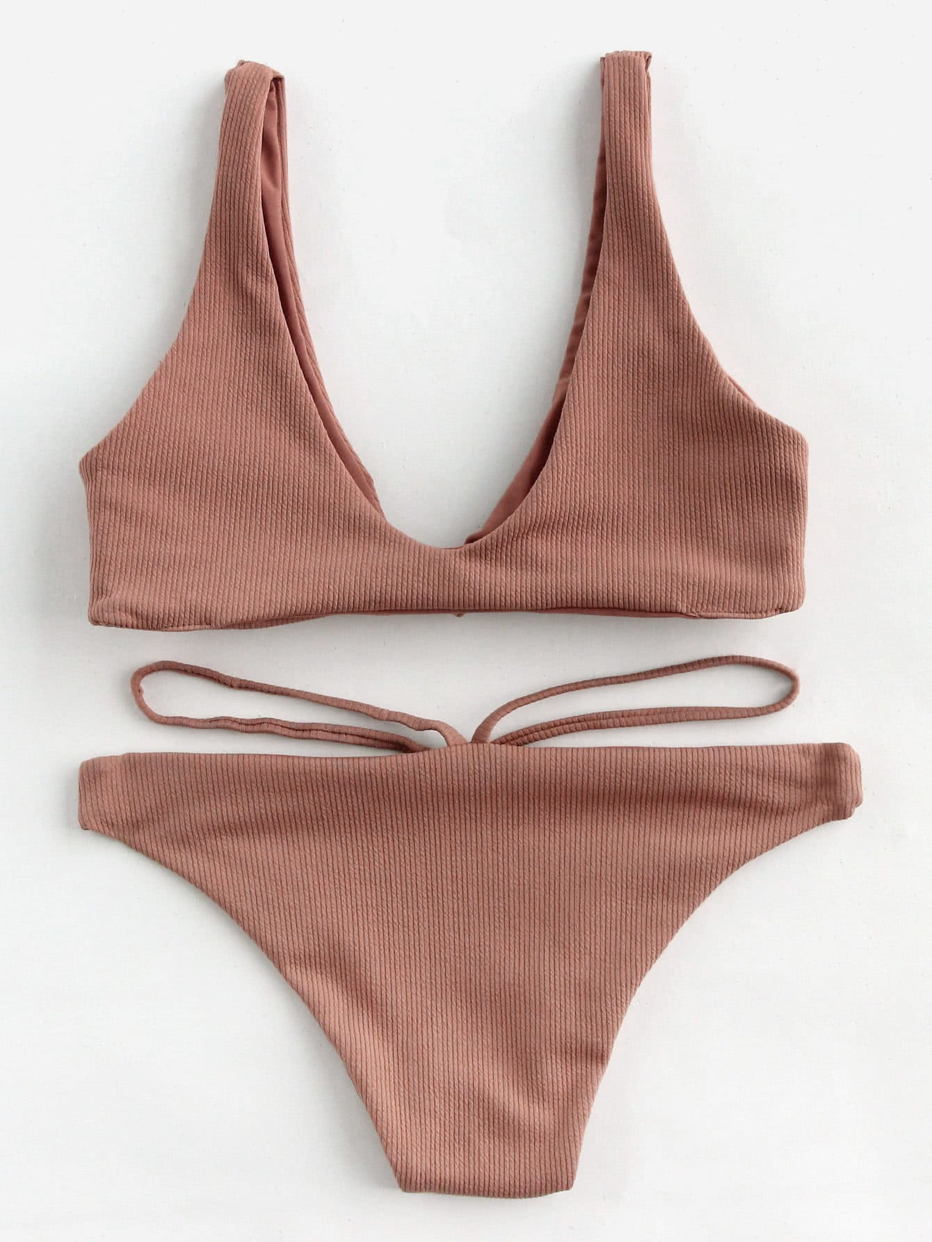 9e285b27554a3 Knot Ribbed Top With Strap Panty Bikini Set EmmaCloth-Women Fast ...