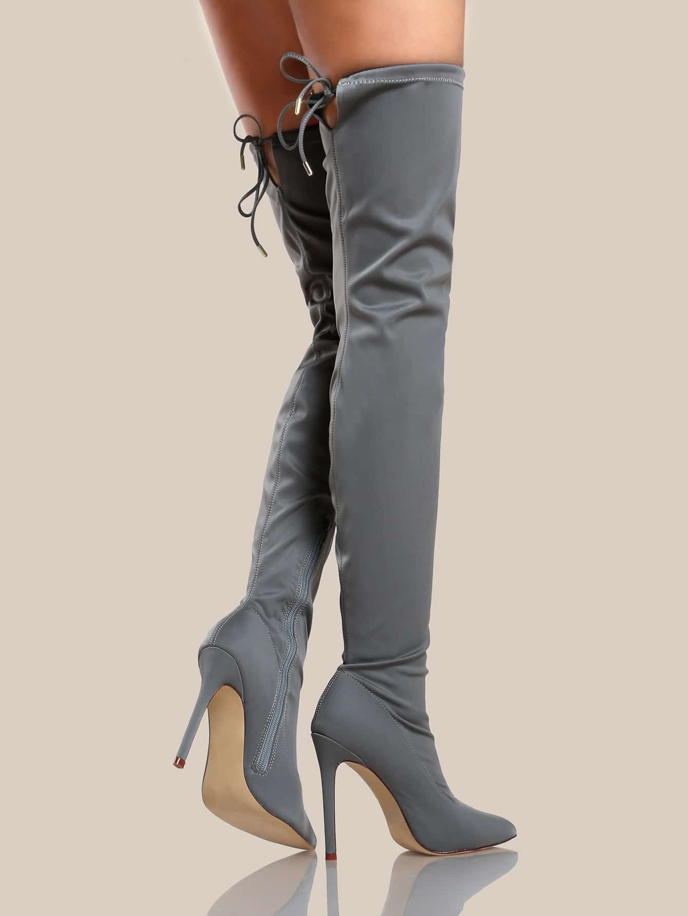 5340743aa8 Solid Point Toe Thigh High Boots GREY | SHEIN