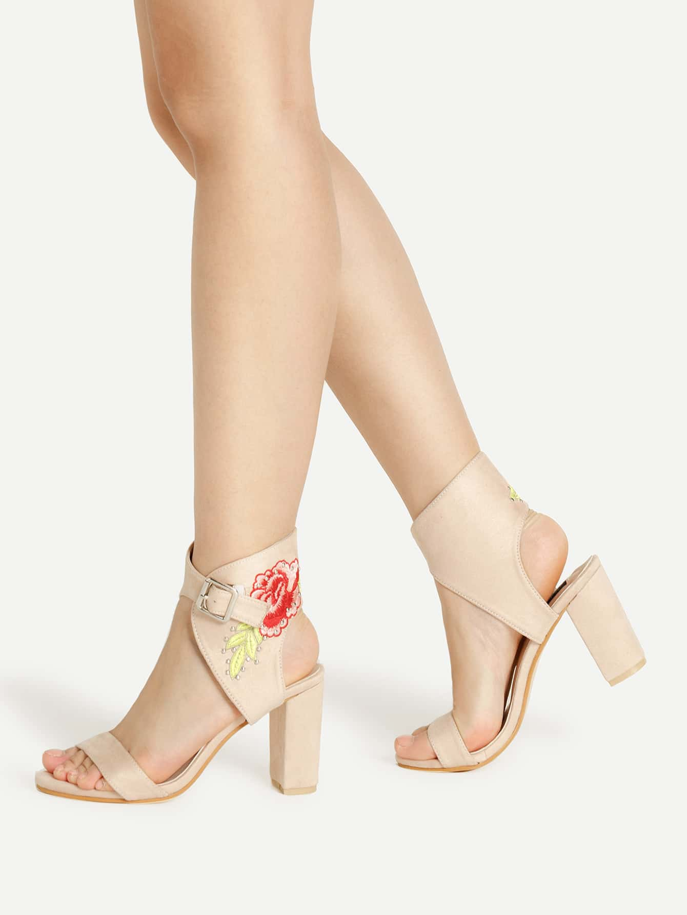 360d583016e1 Flower Embroidery Ankle Cuff Block Heeled Sandals EmmaCloth-Women ...