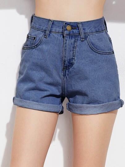 Rolled Cuffed Denim Shorts