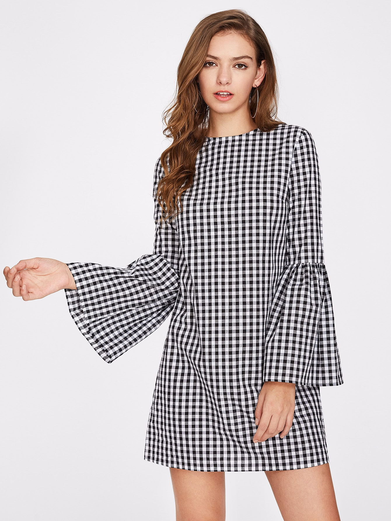 Exaggerate Bell Sleeve Gingham Dress -SheIn(Sheinside)