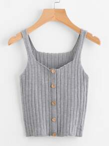Button Front Rib Knit Top SHEIN