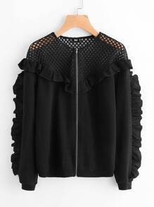 Fishnet Yoke Frill Detail Jacket