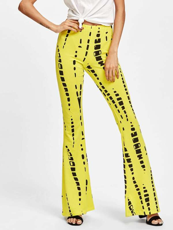195170aa75c68 Abstract Print Flare Pants | SHEIN