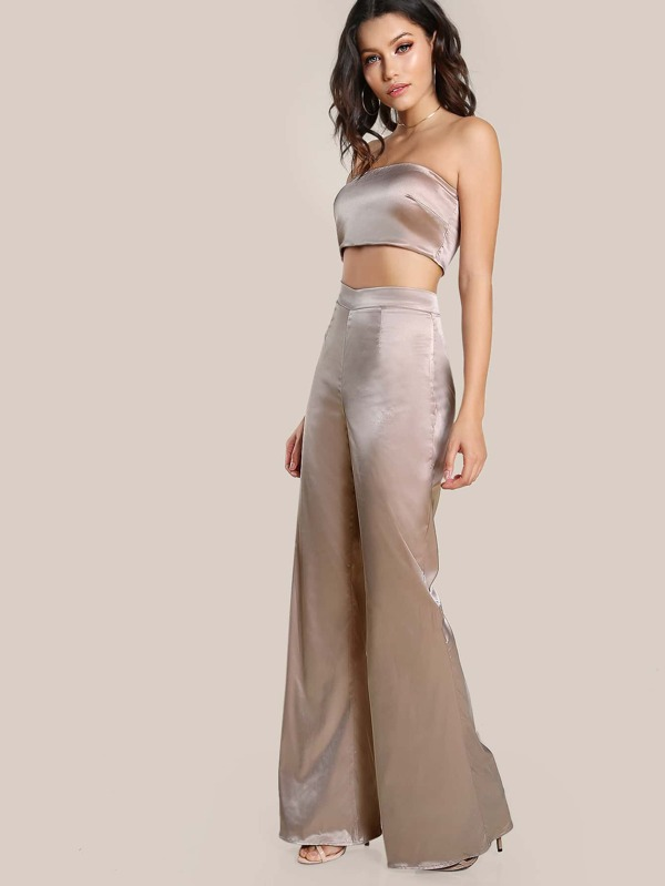 31810208aa Satin Solid Bandeau & Matching Pants Set | SHEIN IN