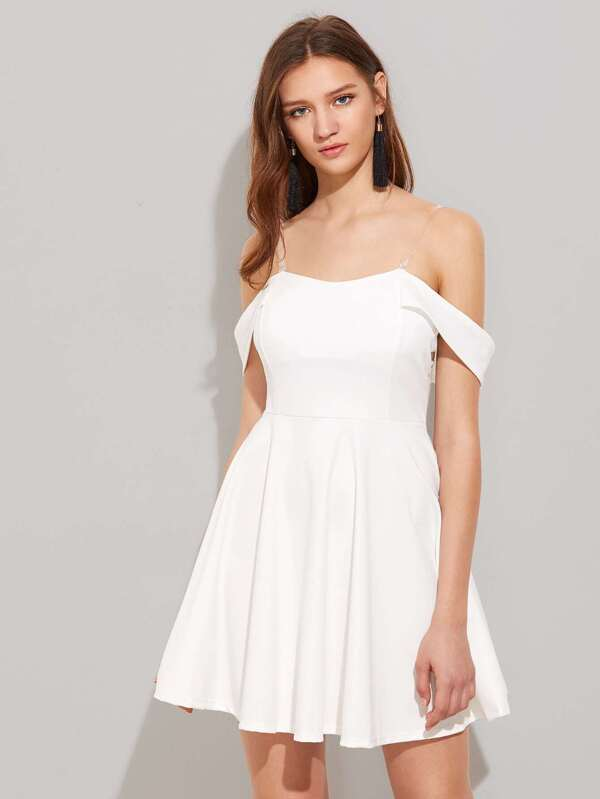 c9a2847f278 Off Shoulder Swing Dress With Removable Straps