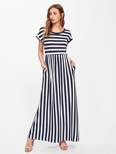 d616225829 Contrast Striped Full Length Dress