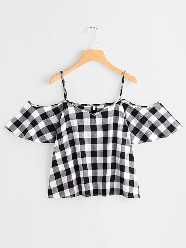 3bf4672c83bb2e Check Plaid Cold Shoulder Top