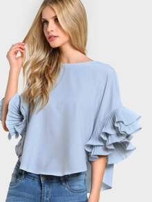 Pleated Ruffle Sleeve Dolphin Hem Top