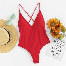 Criss Cross Back Ruched Detail One Piece Swimwear