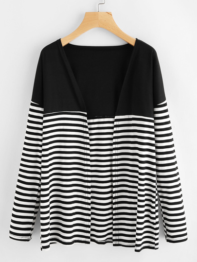 Contrast Striped Long Cardigan