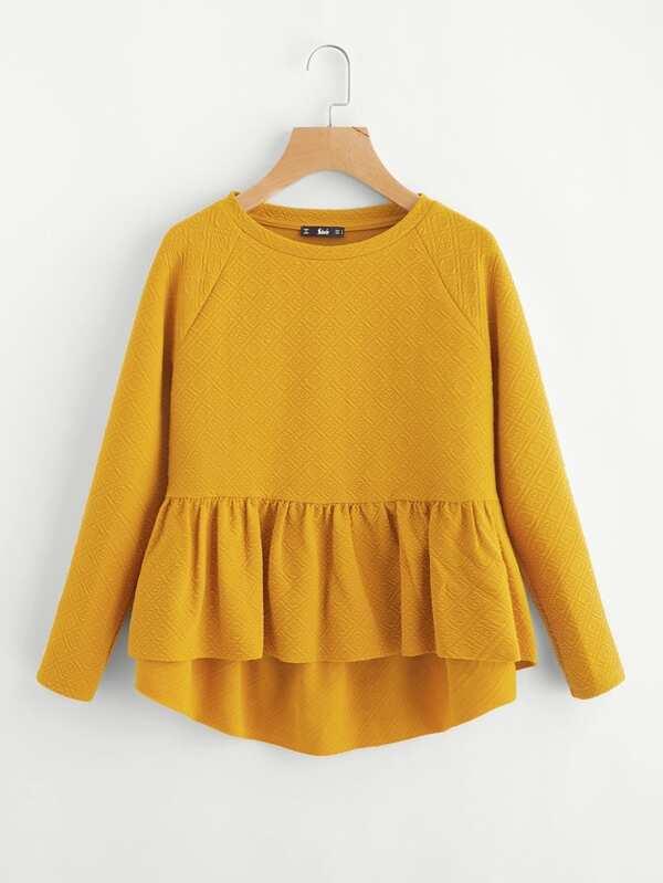7005f09e167883 Raglan Sleeve Textured High Low Smock Sweatshirt | SHEIN IN