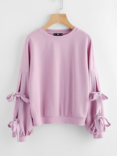 Bow Tie Split Sleeve Ribbed Sweatshirt