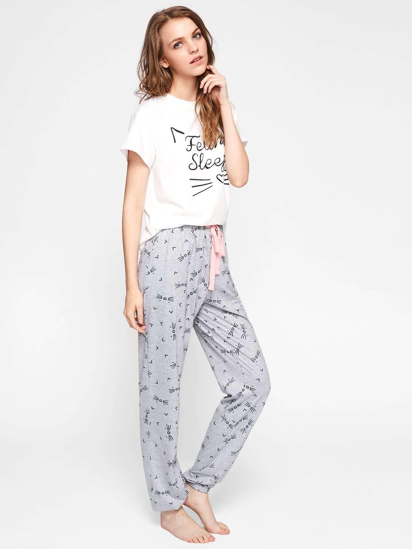 73f23a7d32 Cat Pattern Print Top And Pants Pajama Set | SHEIN UK