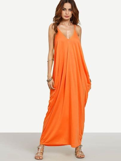 8989508de Neon Orange V-neckline Cocoon Cami Dress