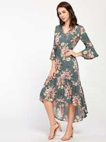 Tie Neck Bell Sleeve Flounce Dip Hem Dress