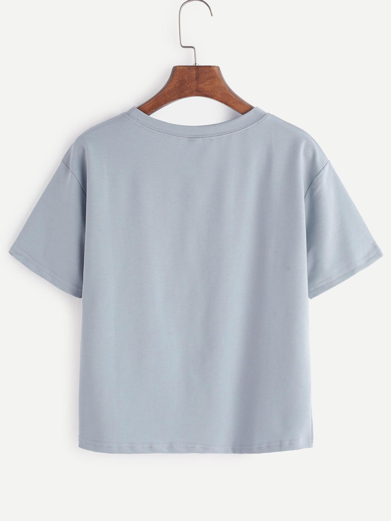t shirt globe imprimer light blue french shein sheinside. Black Bedroom Furniture Sets. Home Design Ideas