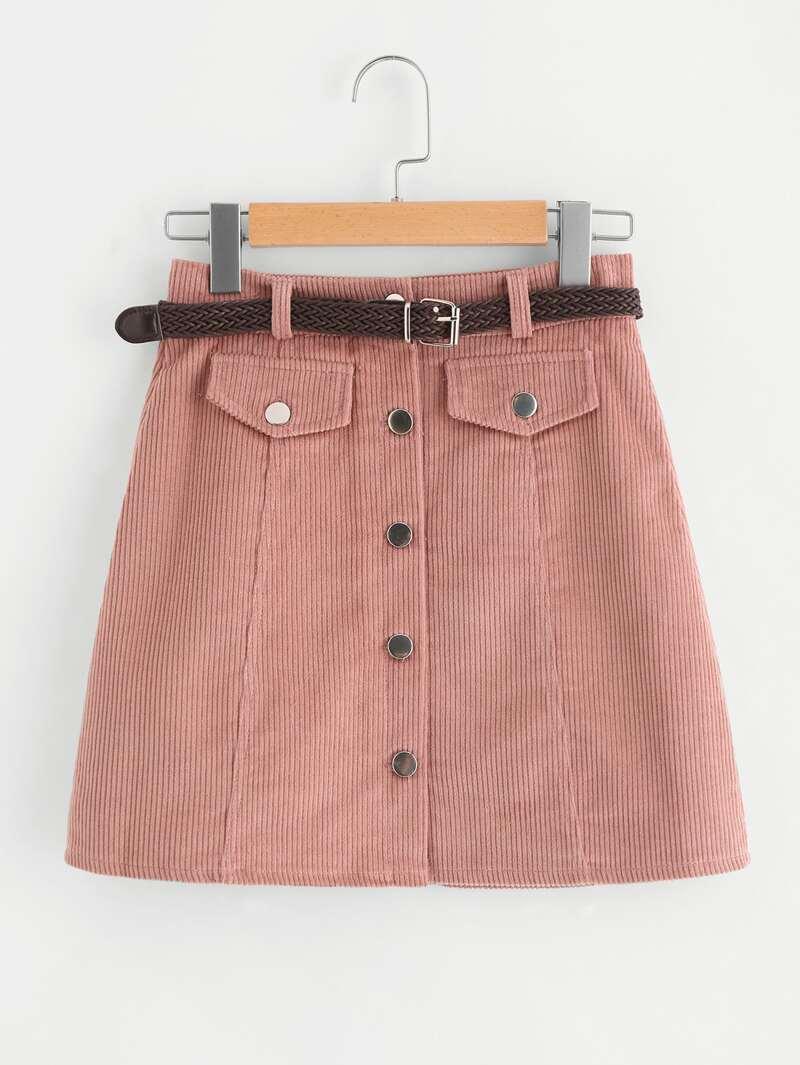 3188350e2 Falda de pana de canalé con una fila de botones con cinturón
