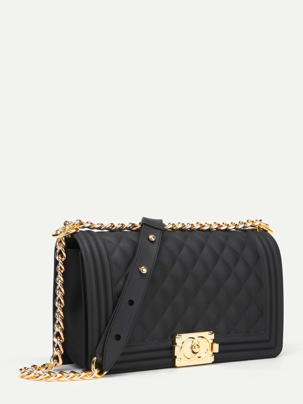 Metal Lock Quilted Crossbody Chain Bag  27375878aa5fe