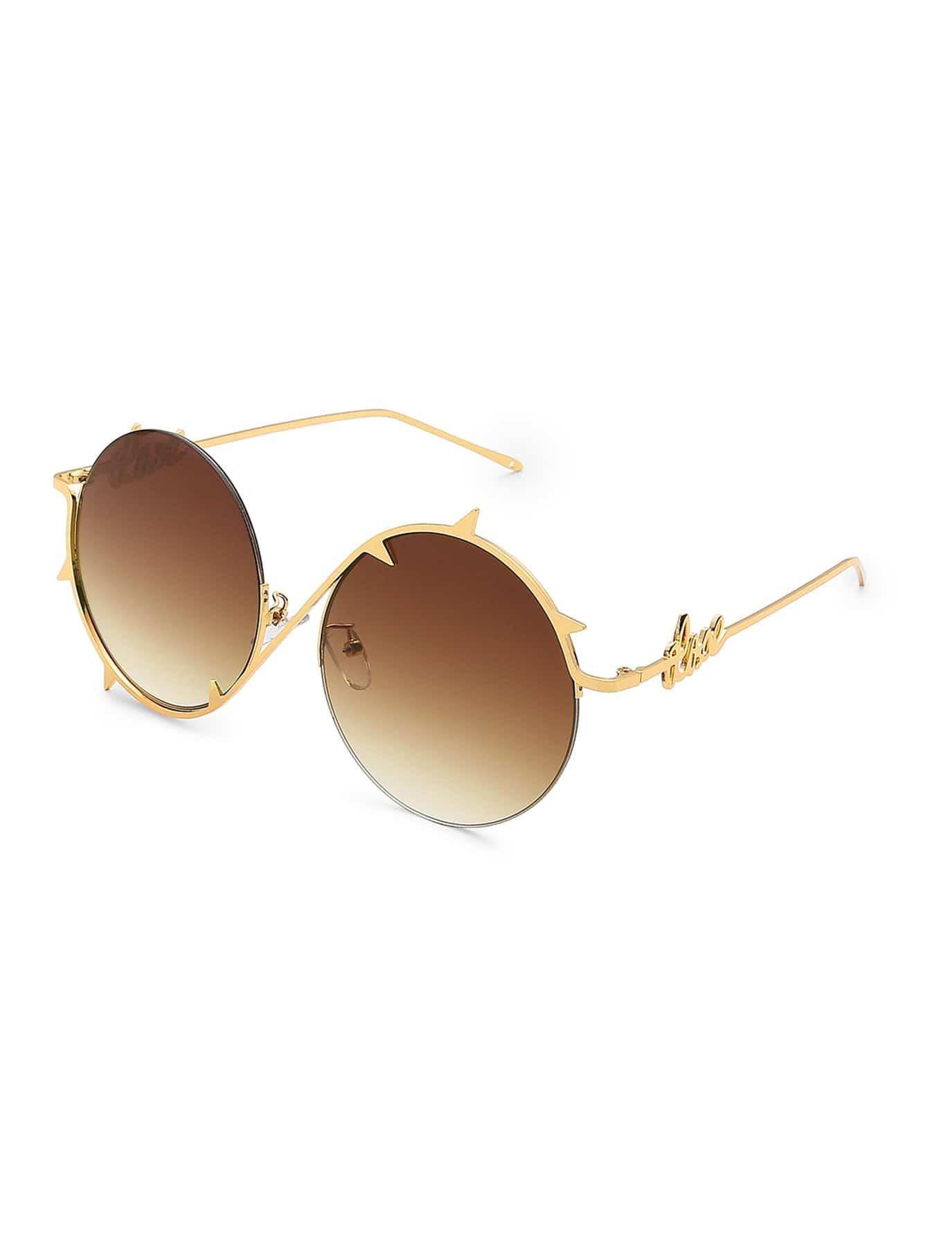 9da58b76bc9 Ombre Lens Asymmetrical Frame Round Sunglasses EmmaCloth-Women Fast ...