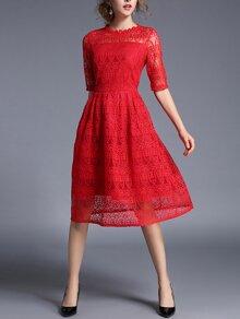 Lace Crochet Eblow Sleeve Dress