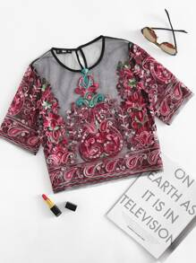 SHEIN Flower Embroidery Mesh Crop Top