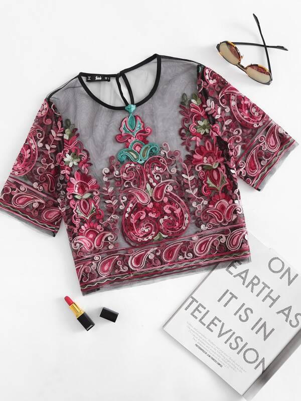 b39575f2d8d Flower Embroidery Mesh Crop Top   SHEIN