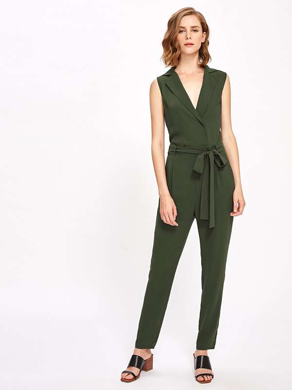 de17b4f66ab Notch Collar Surplice Self Tie Tailored Jumpsuit