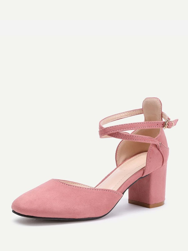 ab3be5324a Pointed Toe Ankle Strap Block Heels   SHEIN