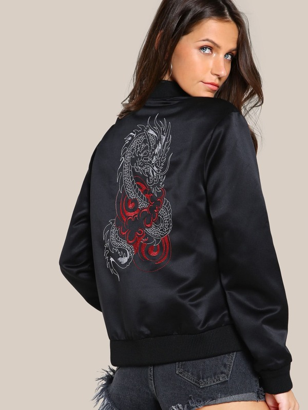 Dragon Embroidered Back Bomber Jacket by Shein