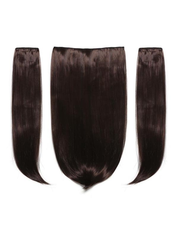 Black Cherry Clip In Straight Hair Extension 3pcs Sheinsheinside