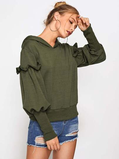 Frill Detail Ribbed Trim Hoodie