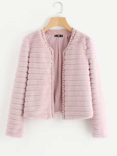 Pearl Beading Textured Faux Fur Coat