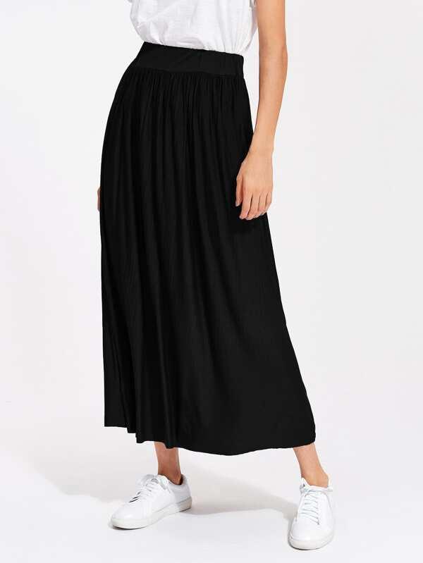 962fa33c20 Crinkle Elastic Waist Full Length Skirt   SHEIN UK