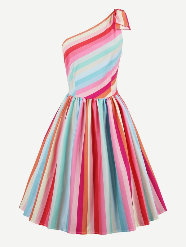 0e74a06a5f Rainbow Stripe Oblique Shoulder Circle Dress | SHEIN