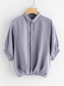 Gathered Hem Button Front Shirt