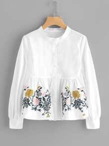 Flower Embroidered Smock Blouse