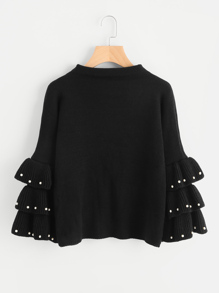 Pearl Beading Layered Bell Sleeve Jumper