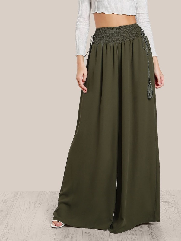 483e5f7f69e77 Tassel Tied Shirred Waist Super Wide Leg Pants