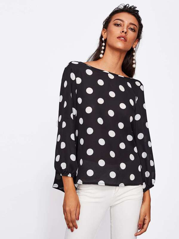 Iets Nieuws Bow Back Polka Dot Blouse -SheIn(Sheinside) &JC83