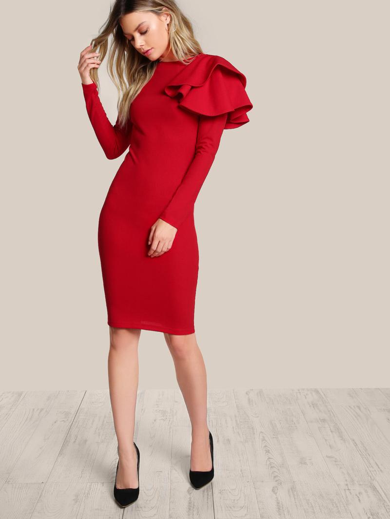 94b26f3152135 One Side Tiered Ruffle Bodycon Dress