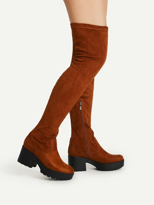 c31890356be Side Zipper Over Knee Platform Boots