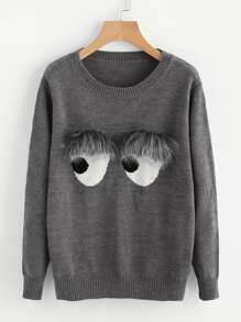 Faux Fur Embellished Eyes Pattern Jumper