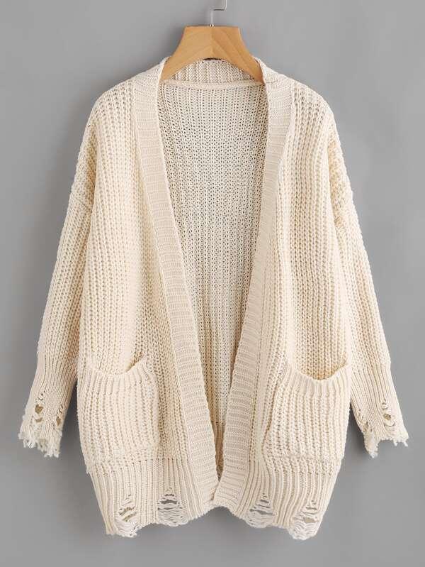 Chaqueta suéter de hombros caídos con diseño roto-Spanish SheIn ...