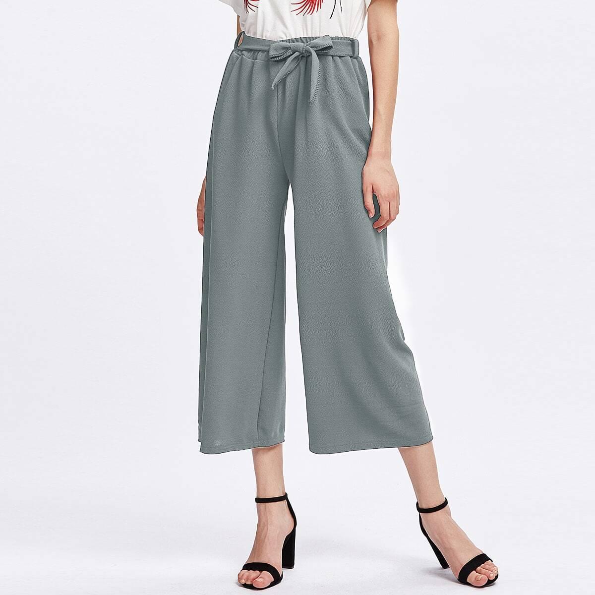 - Tie Waist Culotte Pants